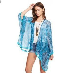 Chaser 100% Silk Boho Pom Pom Kimono Jacket